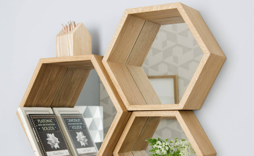 original_hexagon-mirror-shelves wall mirrors An Exceptional Selection of Statement Wall Mirrors original hexagon mirror shelves 1