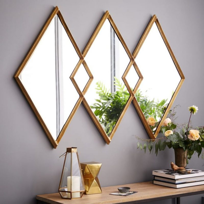 Inspire Your Home Décor With Geometric Mirrors geometric mirrors Inspire Your Home Décor With Geometric Mirrors overlapping diamonds mirror w1847 1z e1552044623807
